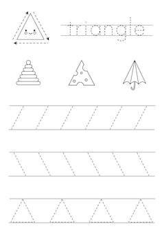 Aprendizaje de formas geométricas básicas para niños. triángulo blanco y negro.