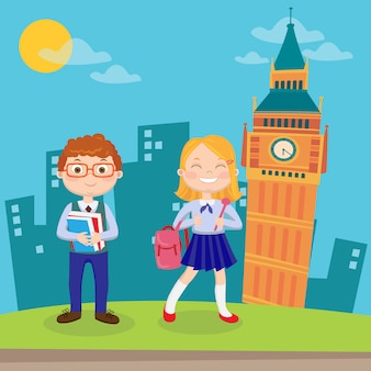 Aprendizaje del idioma inglés. niños felices de vacaciones en londres.