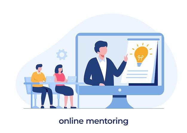 Aprendizaje en línea, cursos y tutoriales, enseñanza, seminario web en línea, reunión de negocios, banner de ilustración vectorial plana