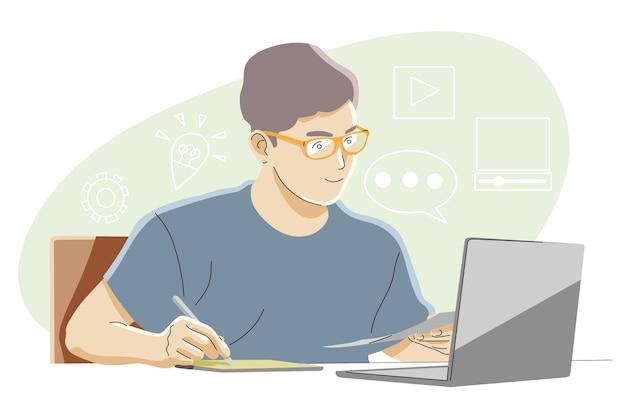 Aprendizaje en línea, educación, concepto de éxito