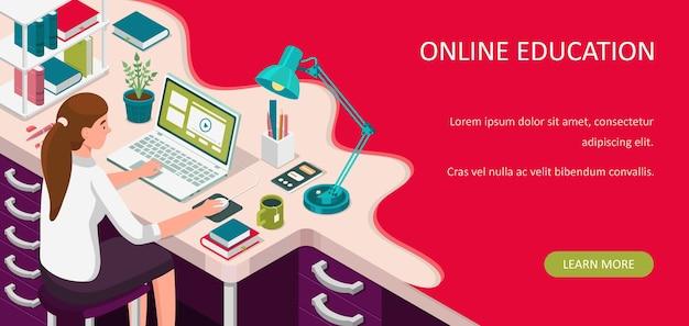 Aprendizaje online en casa. estudiante sentado en el escritorio y mirando portátil. banner de e-learning. concepto de cursos o tutoriales web. ilustración isométrica plana de educación a distancia.