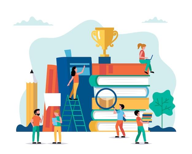 Aprendizaje, personajes de personas pequeñas haciendo varias tareas de libros y trofeos.