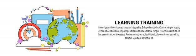 Aprendizaje de la plantilla de la bandera horizontal del concepto de la educación empresarial de formación