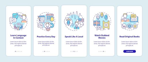 Aprendizaje de sugerencias de idiomas sobre la incorporación de la pantalla de la página de la aplicación móvil con conceptos