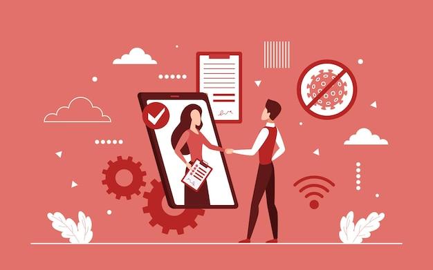 Apretón de manos de asociación empresarial a través de la pantalla del teléfono