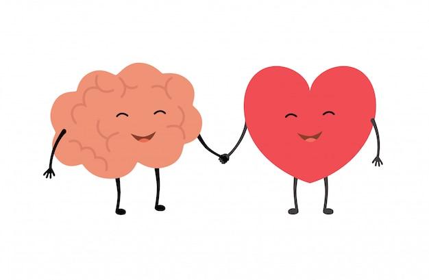 Apretón de manos de cerebro y corazón.