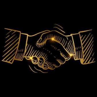 Apretón de manos dorado dibujado a mano