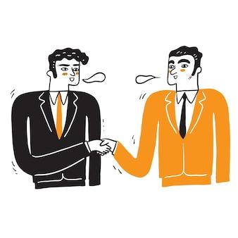 Apretón de manos de dos empresarios