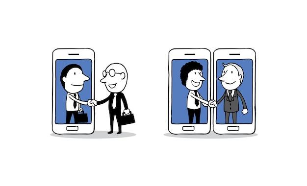 Apretón de manos de dos hombres de negocios en el fondo del teléfono inteligente.