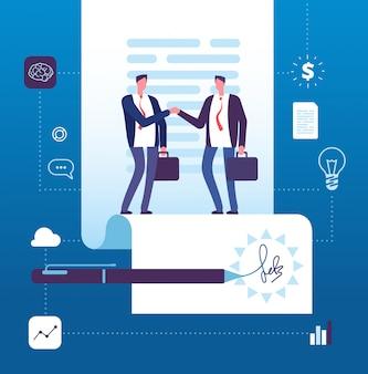 Apretón de manos de empresario en contrato con firma