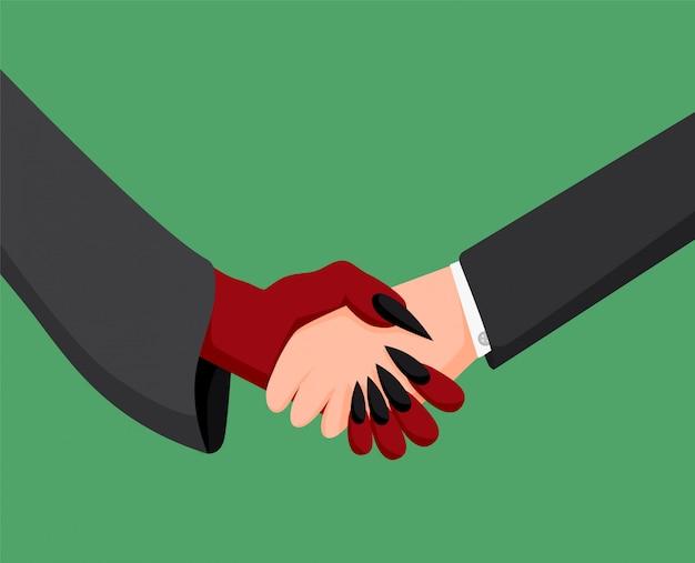Apretón de manos de empresario y diablo. tratar asociación monetaria con malvado empresario.
