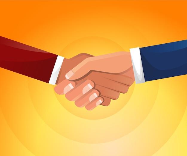 Apretón de manos. los empresarios se dan la mano ilustración. Vector Premium