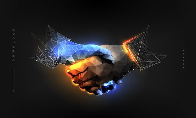 Apretón de manos en estilo de estructura poligonal