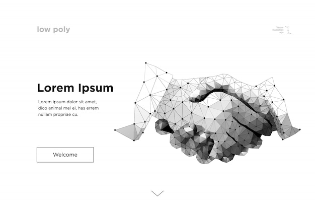 Apretón de manos. línea de malla abstracta y punto origami apretón de manos de negocios