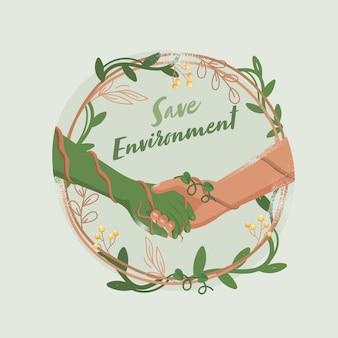 Apretón de manos entre la mano humana y la naturaleza en el marco de la vid circular decorado con hojas verdes con bayas para salvar el concepto de medio ambiente.