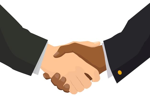 Apretón de manos con mano negra, ilustración para negocios y concepto de finanzas en blanco