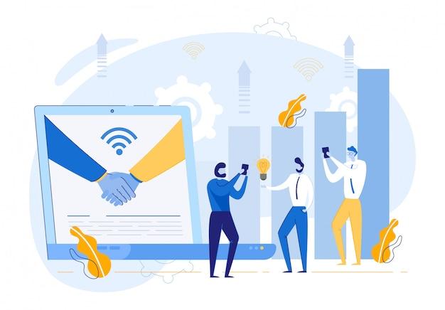 Apretón de manos en monitor portátil y gente de negocios