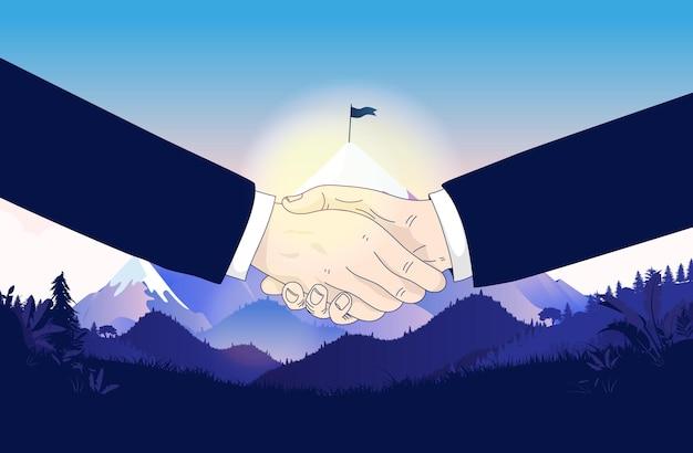Apretón de manos de negocios al aire libre con la cima de la montaña detrás