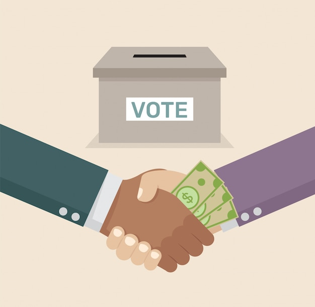 Apretón de manos de negocios con la corrupción comprar votos.