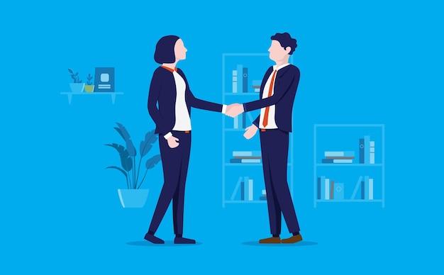 Apretón de manos de negocios entre hombre y mujer