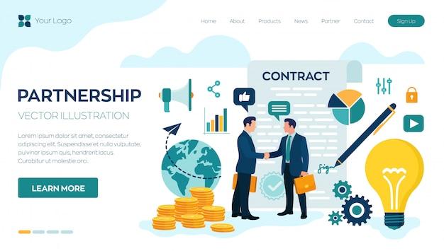 Apretón de manos de la página de inicio de dos hombres de negocios