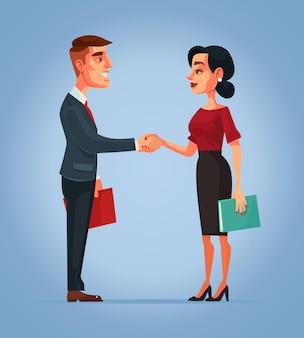 Apretón de manos de personajes de empresario y empresaria