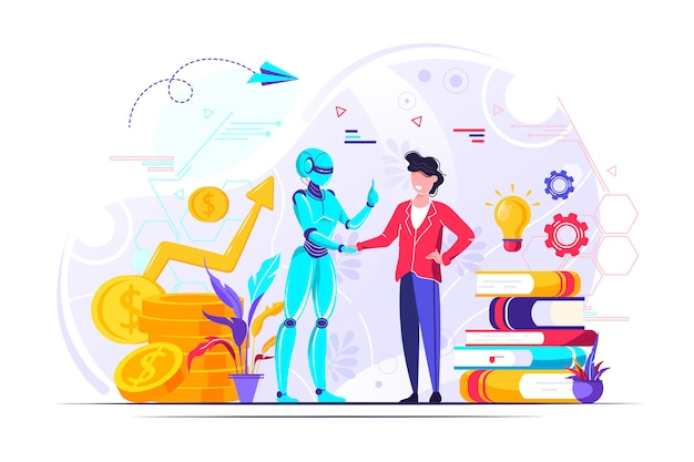 Apretón de manos para robot y hombres