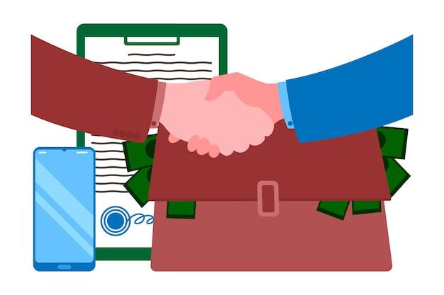 Apretón de manos de socios comerciales apretón de manos fuerte y firme. símbolo de ilustración de estilo plano de vector de éxito, acuerdo, buen trato, conceptos de asociación aislados sobre fondo blanco.