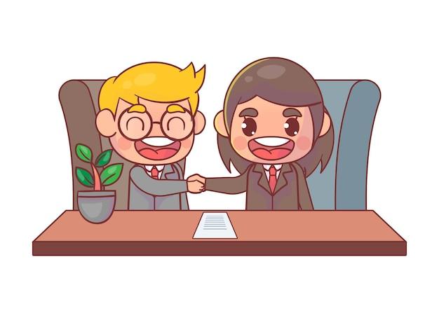 Apretón de manos de socios comerciales Vector Premium