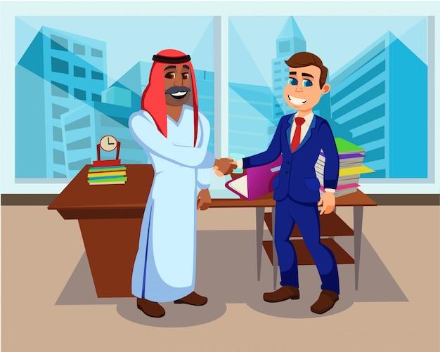 Apretón de manos de socios de negocios internacionales