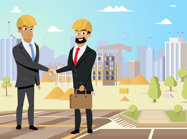 Apretón de manos de socios en el sitio de construcción vector