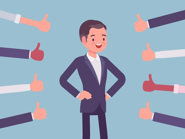 Aprobación, elogio y elogio, pulgares aprobando al hombre feliz