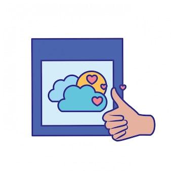 Aprobación de manos con el icono de imagen aislada
