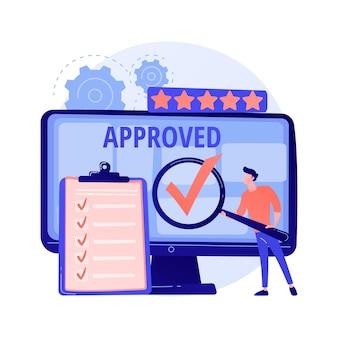 Aprobado por expertos. personaje de dibujos animados con símbolo de marca de verificación en la mano. tarea terminada, señal terminada. satisfactorio, sanción oficial, aceptación.