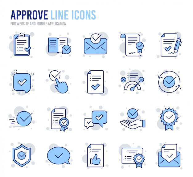 Aprobar iconos de línea. conjunto de lista de verificación, certificado y medalla de premio.