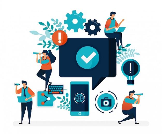 Aprobar y verificar comentarios de usuarios, redes sociales, dispositivos móviles, actividades en internet