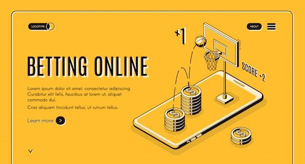 Apuestas en línea plantilla de sitio web de arte de línea deportiva.