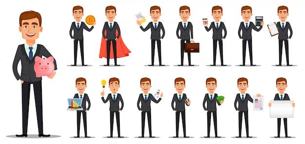 Apuesto banquero en traje de negocios