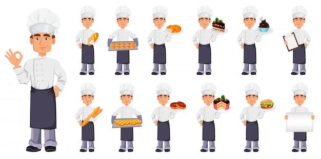 Apuesto panadero en uniforme profesional