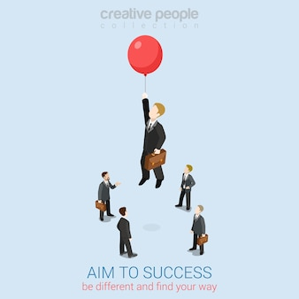 Apunta al éxito web plana 3d