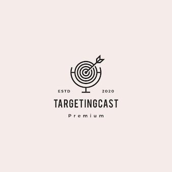 Apuntar al logo de podcast hipster icono vintage retro para marketing blog video tutorial canal emisión de radio