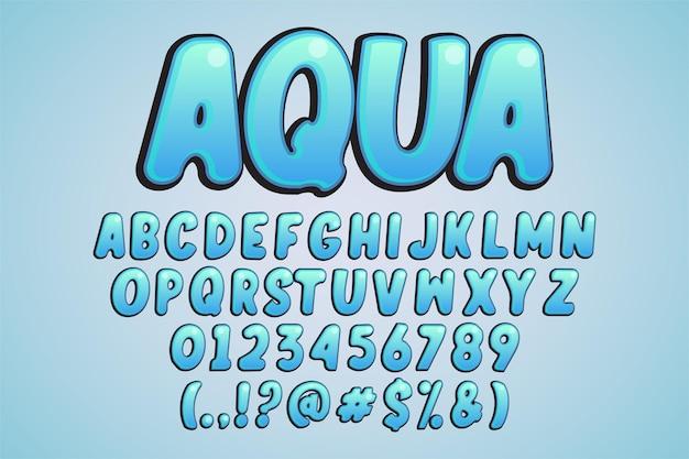 Aqua, resplandor de estilo de alfabeto de dibujos animados moderno