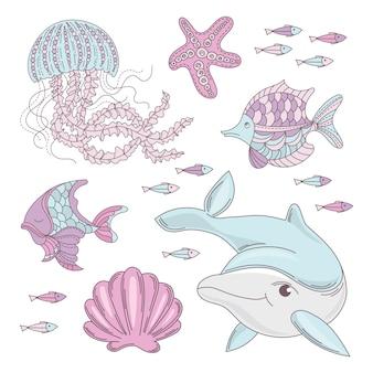 Aqua world mar subacuático animal marino