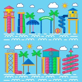 Aquapark entertainment equipments vector poster