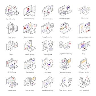 Aquí hay un conjunto de iconos isométricos de seguridad cibernética que tienen conceptos conceptuales y visuales nocionales del delito cibernético y la protección que puede editar y utilizar fácilmente de acuerdo con las necesidades de su proyecto.