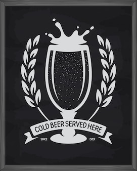 Aquí se sirve cerveza fría, póster listo para imprimir