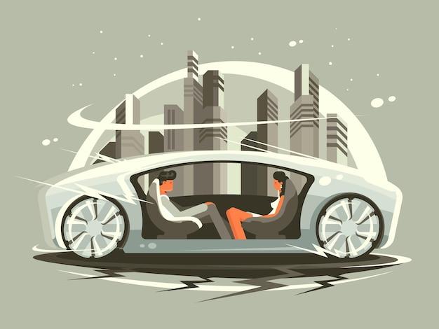 Ð¡ar de futuro con cómodo salón para personas de comunicación. ilustración vectorial