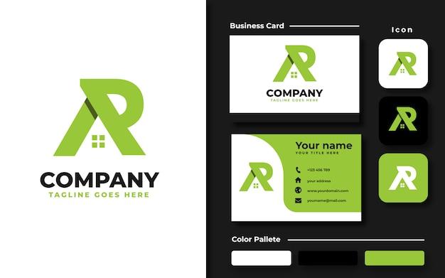 Ar inicial con plantilla de logotipo de casa de techo y tarjeta de visita