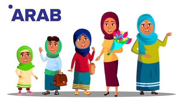 Árabe, musulmana generación femenina