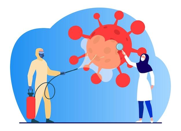 Árabes con trajes protectores desinfectando la zona del virus. coronavirus, máscara, lupa ilustración vectorial plana. pandemia y prevención